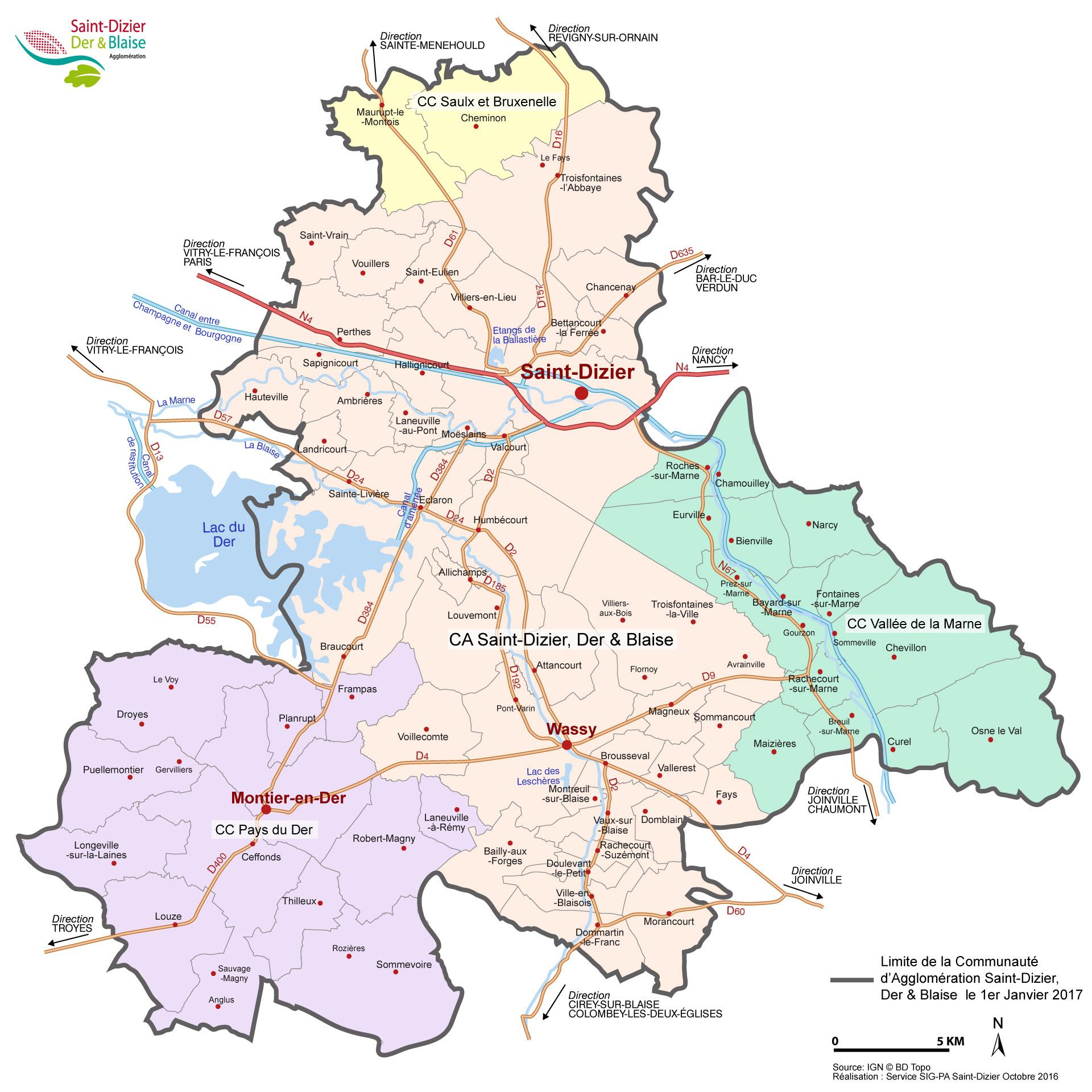 Les 60 communes de la Communauté d'agglomération Saint ...
